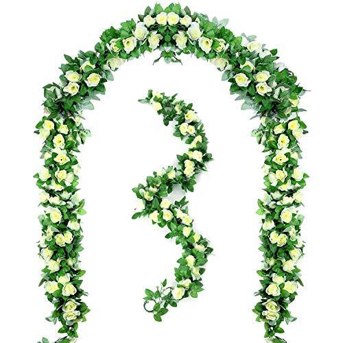 Peoxio 2 Pezzi 6.5 FT fiori artificiali rose piante di vite appese edera rosa ghirlanda di nozze verde casa hotel ufficio festa giardino artigianato Art Decor (bianco)¡