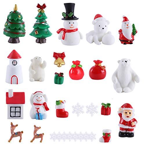 30 Stück Feengarten Weihnachtszubehör Weihnachten Miniatur-Ornamente DIY Schneekugel Figuren Miniatur Weihnachtsdekorationen für Weihnachtsfeier