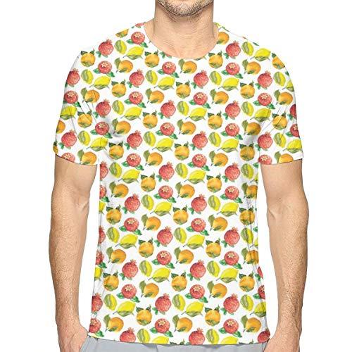Mens T-shirt, vitamine C patroon of Seasonal Orange Pomegranate Lemon