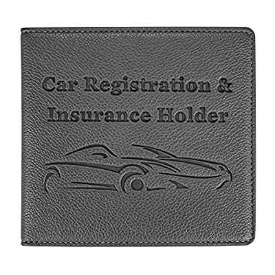 Car Registration and Insurance Holder, Premium PU Leather Vehicle Glove Box Car Organizer Men Women Wallet Accessories Case for ID, Driver's License, Key Contact Information Cards - Grey by New Fashion Kingdom