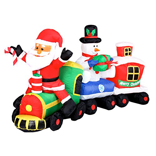 Pridea Weihnachtsdeko XXL Aufblasbarer Weihnachtszug Weihnachtsmann Schneemann Weihnachtshüte Zuckerstange Wasserfest IP44 Weihnachtsdekoration Weihnachtszug mit Gebläse