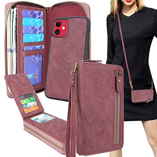 Lacass Compatible with iPhone 11 6.1 Inch Crossbody Chain Dual Zipper Detachable Magnetic Leather Wallet Case Cover Wristlets Clutch Handbag Purse Wrist Strap with 13 Card Slot Money Pocket (Wine red)