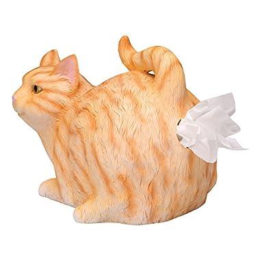 WHAT ON EARTH Cat Butt Tissue Holder - Fits Standard Tissue Box - Resin (Orange Tabby)