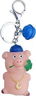 Luxurious 2019 Chinese New Year Mascot Cartoon Pig Keychain Bag Pendant Bell Key Ring Decor Fine Workmanship Souvenir Gif...