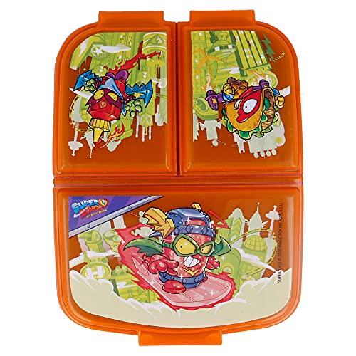 Super ZINGS  Sandwichera con 3 Compartimentos para niños - lonchera Infantil - Porta merienda - Fiambrera Decorada