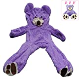 Life Size Huge Teddy Bear Un-Stuffed Giant Cover (79 inch/ 6.6 Foot), DIY Purple Bear for Valentine's Day Birthday Gifts, Only Cover, Sealing with The Zipper at Shell's Back