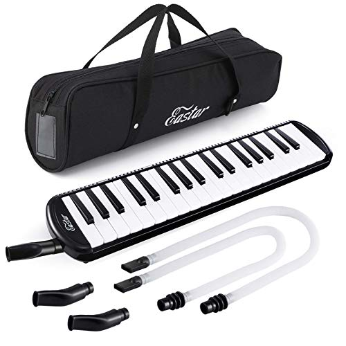 Eastar 37 Key Melodica Instrument with Mouthpiece Air Piano Keyboard,Carrying Bag Black