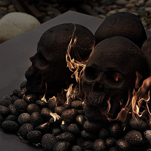 Hollow Ceramic Skull for Indoor and Outdoor Fire Pits and Fireplaces | Single Fireproof Ceramic Skull | 6 Inches, Black Color