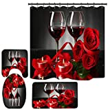 Valentines Shower Curtain for Bathroom, Red Rose and Wine Shower Curtain for Bathroom Decor Sets with Bath Rugs, Romantic Valentine Day Bathroom with Non-Slip Rugs and Mats Set (V8)
