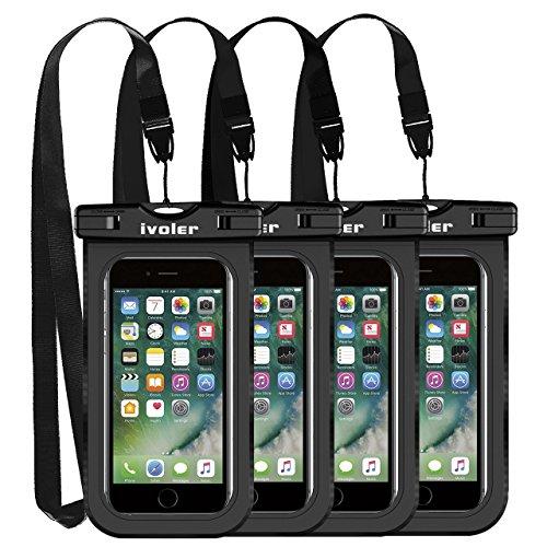 ivoler [4 Pezzi] Custodia Impermeabile Smartphone, IPX8 Borsa Impermeabile Sacchetto Impermeabile Cellulare Dry Bag Universale Waterproof Cover Case per iPhone, Samsung, Huawei, ECC. (Nero)