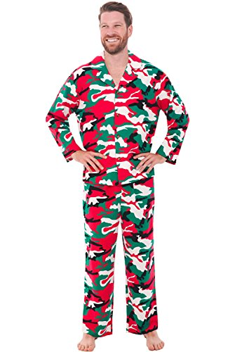 Alexander Del Rossa Men's Lightweight Flannel Pajamas, Long Cotton Pj Set, 2X Christmas Camouflage (A0544N262X)