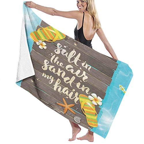 Grande Suave Ligero Toalla de Baño Manta,Salt In The Air Sand In My Hair Letra Art Caligrafía con Chanclas Figura,Hoja de Baño Toalla de Playa por la Familia Hotel Viaje Nadando Deportes,52' x 32'