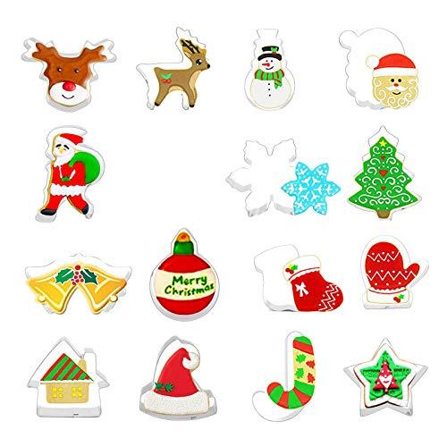 Cortador de Navidad de 15 Piezas, Molde de decoración, Marco de Pastel, Molde de Galletas de Acero Inoxidable, hogar y jardín, Cocina, Comedor y Bar
