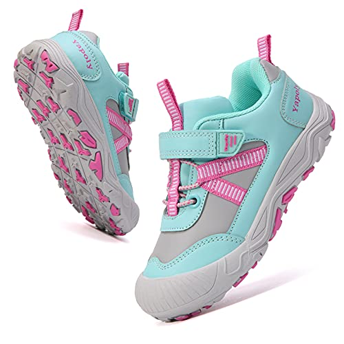 Yapoly Hiking Shoes Boys Girls - Toddlers Athletic Shoes Waterproof Anti-Collision for Trekking Trailing Camping Walking Running - Outdoor Kids Shoes Non-Slip for Little Big Kids SkyBlue 28