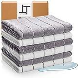 tempery - strofinacci cucina spugna microfibra - set di 6 asciugamani da cucina di alta qualità 40*65cm stracci grigio e bianco 380 gsm