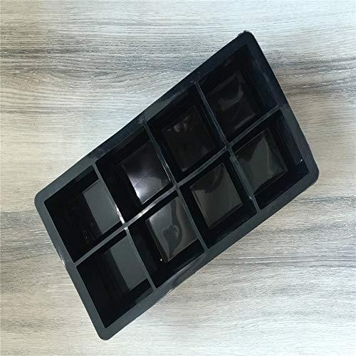 IJsblokjesschaal van siliconen met 8 roosters, ijsblokjesvorm, ijsblokjesvorm, baby-voedingssupplementdoos, whisky, cocktail, fruitdobbelstenen om zelf te maken (2 pakketten) Zwart