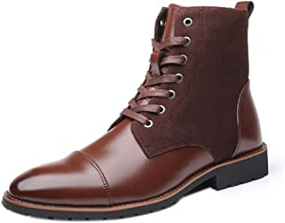 Fulision Men's Cotton Boots Autumn and Winter Plus Velvet to Keep Warm Outdoor Mountaineering Leather Non-Slip wear-Resistant high-top Shoes
