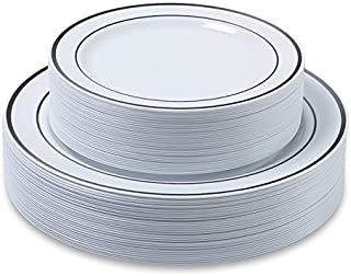 "Disposable Plastic Plates - 60 Pack - 30 x 10.25"" Dinner and 30 x 7.5"" Salad Combo - Silver Trim Real China Design - Premi..."