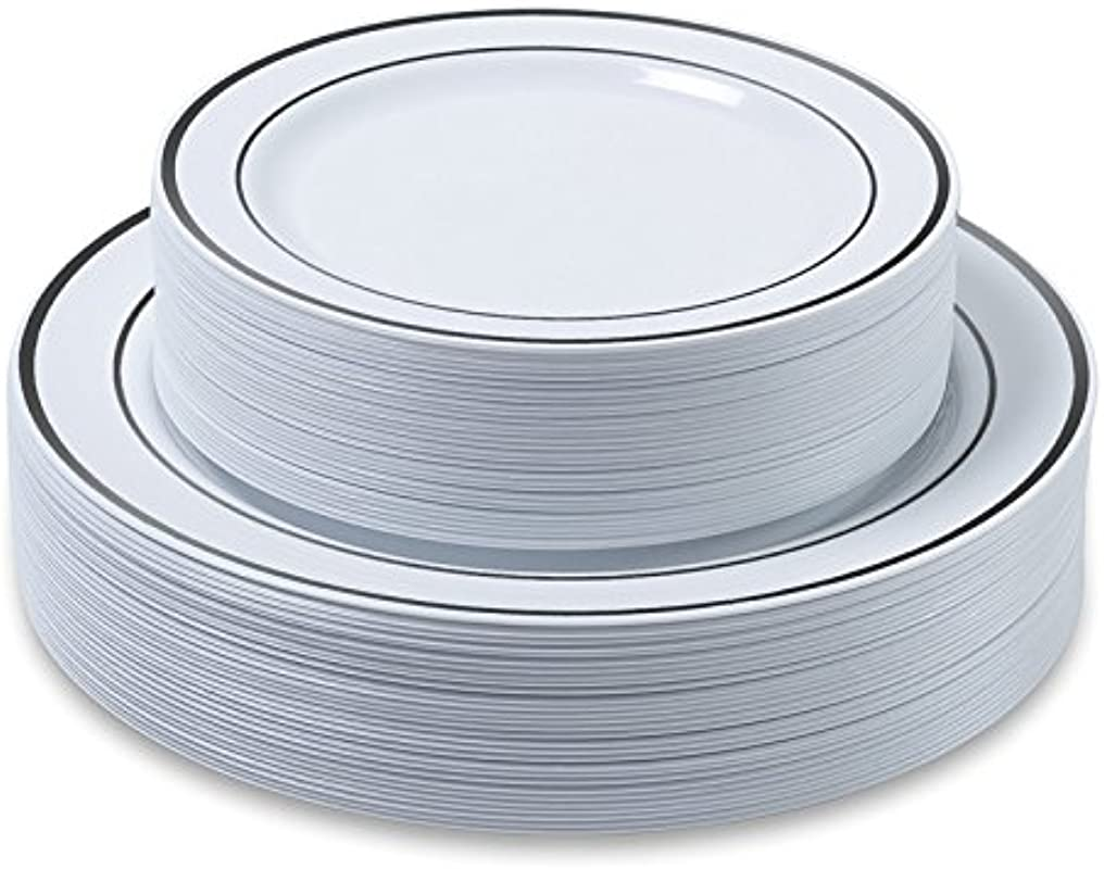Disposable Plastic Plates 60 Pack 30 X 10 25 Dinner And 30 X 7 5 Salad Combo Silver Trim Real China Design Premium Heavy Duty By Aya S Cutlery Kingdom