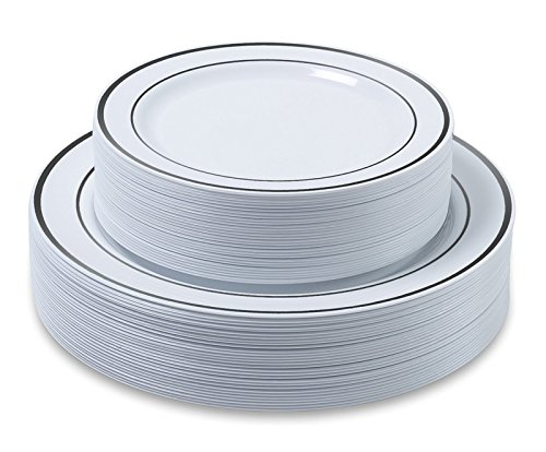"Disposable Plastic Plates - 60 Pack - 30 x 10.25"" Dinner and 30 x 7.5"" Salad Combo - Silver Trim Real China Design - Premium Heavy Duty - By Aya's Cutlery Kingdom"