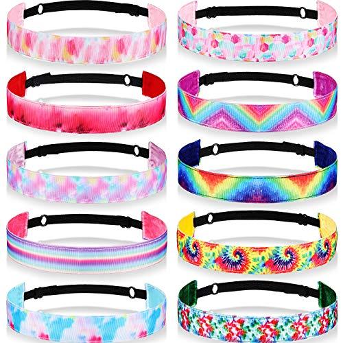10 Pieces Tie Dye Elastic Headbands Kids Headbands Elastic Headbands Hair Bands Cute Nonslip Tie-Dye Hair Accessories Birthday Party Favors for Women, Girls, Teens