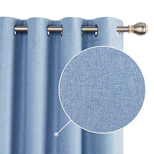 Deconovo 100% Blickdichte Vorhänge Gardinen Schlafzimmer Ösenvorhang Verdunkelung Leinenoptik Blau 245x140 cm 2er Set