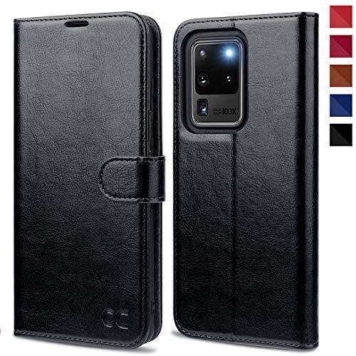 OCASE Samsung Galaxy S20 Ultra Hülle Handyhülle [Premium PU Leder] [Standfunktion] [Kartenfach] [Magnetverschluss] Tasche Cover Etui Schutzhülle lederhülle für Samsung Galaxy S20 Ultra Schwarz