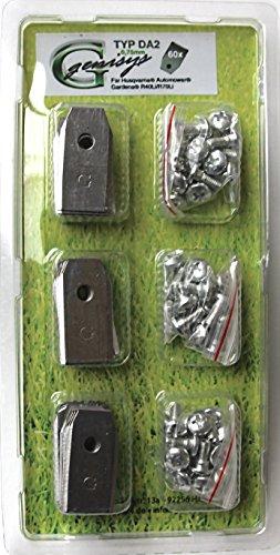 *** 60 Messer (0,75mm / 3,1g) & Schrauben *** für den Husqvarna Automower und Gardena R40Li/R70Li