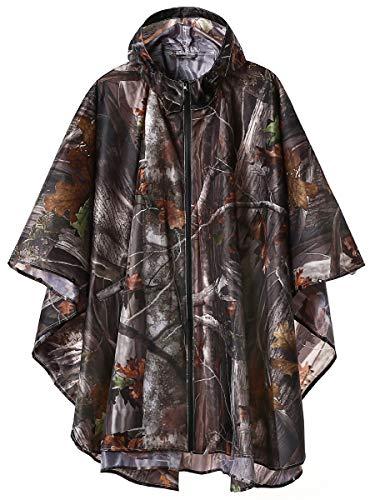Unisex Stylish Rain Poncho Zipper Up Raincoats with Pockets for Women/Men Camouflage