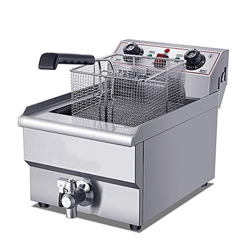 Friteuse Commercieel ventiel, 10L elektrische roestvrijstalen mand en deksel intelligente temperatuurregeling frituurmachine