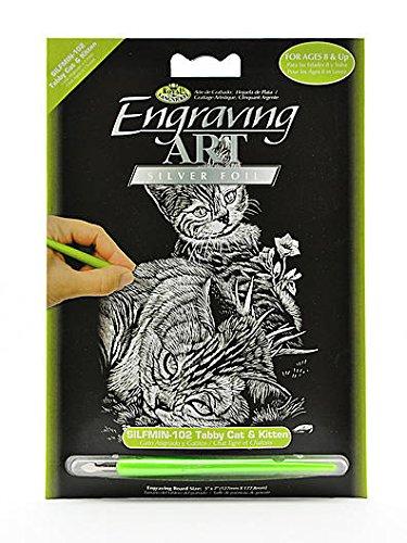Bulk Buy: Royal Mini Silver Leaf Brush Engraving Art Kit 5 x 7 inch & Cat Tiger Kitten Silmin-102 (6)- Bulk Buy