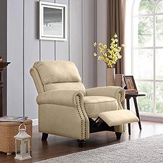 Domesis Cortez - Distressed Faux Leather Push Back Recliner Chair, Latte Tan