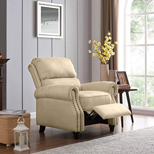 Domesis Cortez - Distressed Faux Leather Push Back Recliner Chair, Latte Tan