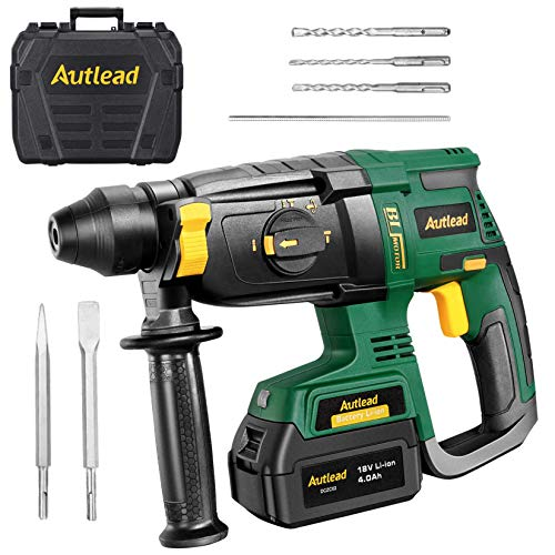 Hammer Drill Cordless, 18V 5300Rpm Brushless Heavy Rotary Hammer, 10mm SDS-Plus Chuck &4.0Ah Battery, 4 Modes Impact Drill 2.8J Impact Energy, 360° Adjustable Handle 2H Fast Charge AUTLEAD DCZC02