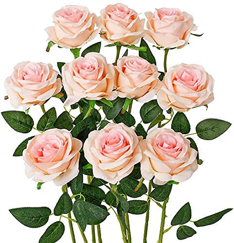 GDDREAM 10 PCS Rosas Artificiales,Ramo de Flores Artificiales Rosa Tallo Largo Abierta de Seda decoración de hogar de Bodas (Polvo Degradado)