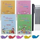 4 Packs Magic Writing Practice Copybook with Pen, 5 Pencil Grips, Alphabet, Math, Drawing, Number, Reusable Calligraphy Handwriting Tool Set