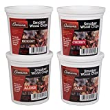 Oak, Cherry, Hickory, and Alder Wood Smoking Chips- 4 Pints - Wood Smoker Shavings Value Pack-...