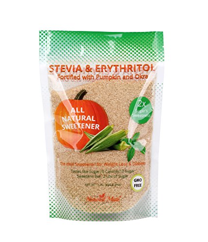 Natural Mate Stevia and Erythritol Sweetener Blend with Veggie Nutrients from Pumpkin and Okra (16oz / 1Lb) - All Purpose Granular Natural Sugar Replacement - Pure Sweet Taste, Zero Calories