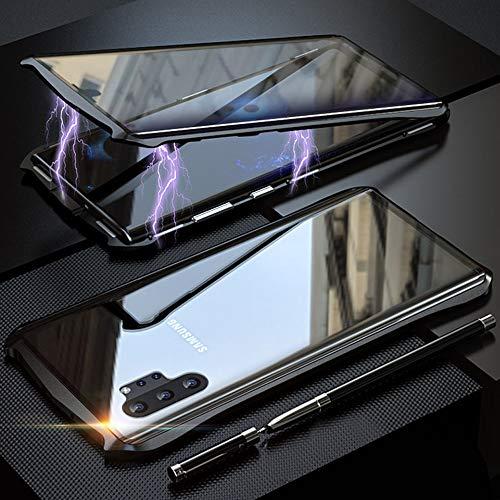 Coque pour Samsung Galaxy Note 10 Plus/Note 10+ Adsorption Magnétique Housse,Conception de Style Batman Double côtés Transparent Verre Trempé Etui Métal Cadre 360 degrés Antichoc Cover Case - Noir