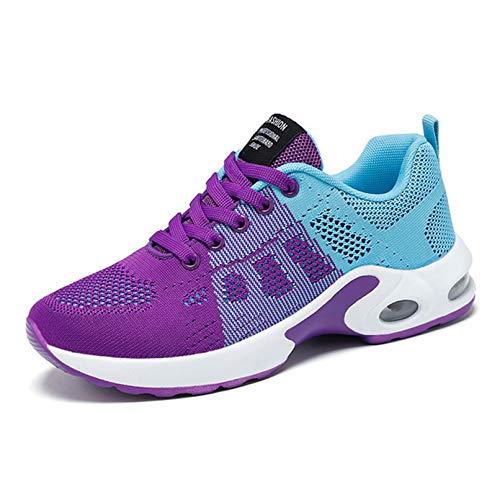 Zapatos para Correr para Mujer, Malla Transpirable, Ligeros, Coloridos, Informales, Zapatos de Moda, Resistentes al Desgaste, Zapatillas con Cordones de Corte bajo