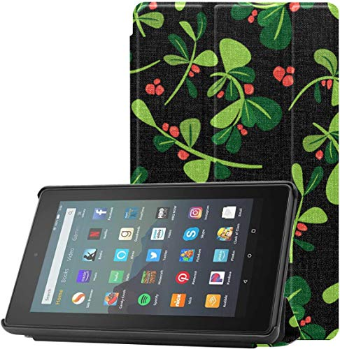 All-New Amazon Fire 7 Tablet Case (9th Generation, 2019 Release) Slim Fit Pu Leather Standing Jc Winter Floral Christmas Fire 7 Tablet Standing with