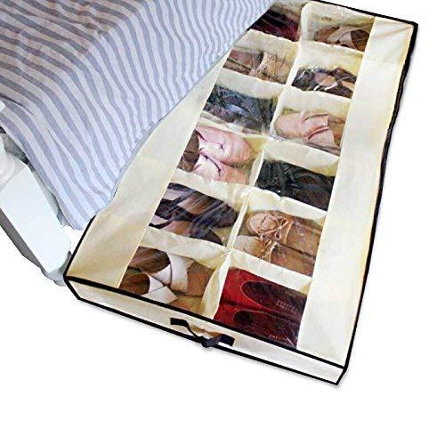 Shonpy Men/Adults 12 Cells See Through Underbed Shoe Storage Bag Organizer, Beige
