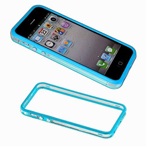 ebestStar - Bumper Cover Compatibile con iPhone SE 5S 5 Custodia Protezione Sottile Slim, Anti Shock Assorbimento Urti, Trasparente/Blu [Apparecchio: 123.8 x 58.6 x 7.6mm, 4.0'']