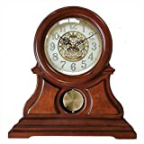 SXZHDZ Orologio da Tavolo Orologio da caminetto Solido Legno di Nonno Orologio Vivente, Retro Orologio Muto 27.6 x 28,9 x 10.2cm