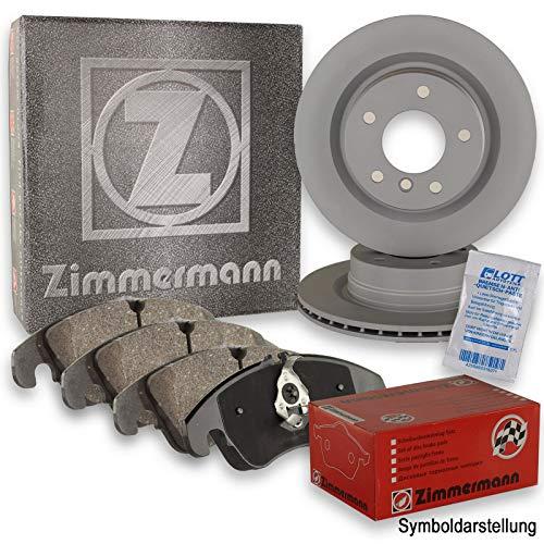 ZIMMERMANN Bremsscheiben + ZIMMERMANN Bremsbeläge hinten Klötze Bremse Bremsenkit Komplettset Hinterachse