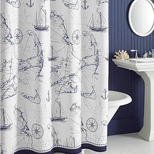 DS BATH Aviation Blue Nautical Shower Curtain,Microfiber Fabric Shower Curtain,Navy Shower Curtains for Bathroom,Printed Bathroom Curtains,Waterproof Decorative Bath Curtains,72 inches W x 72 inches H