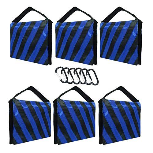 Julius Studio [Paquete de 6] Sacos de arena de peso pesado con rayas azules para trípode de soporte ligero, estudio de video...
