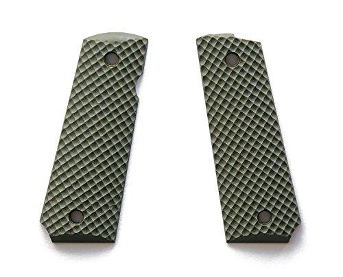 E Gun Grips H1S-J7S-2 Beautiful Custom G10 Slim Tactical Pistol Grips for Full Size 1911 Handguns, Olive