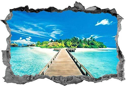 3D muurstickers Strand Sticker 3D Tropisch Strand Muurschildering Landschap Sticker Muurschildering Kerstcadeau
