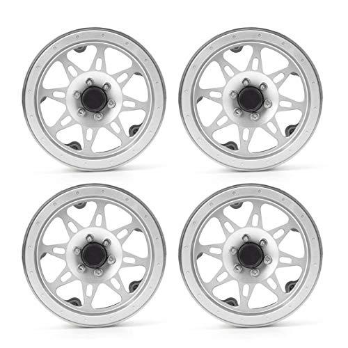 Cubo de llantas de rueda de coche RC, modelo de juguete de 2,2 pulgadas, llantas de aleación de vehículo, accesorios de llanta de rueda de vehículo RC para coche RC a escala 1/10, 4 piezas(plata)